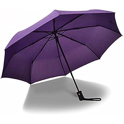 heartogether antipioggia e antivento ombrello automatico tre pieghevole apertura/chiusura automatica Pongee ombrelli da uomo Business, Purple