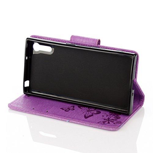 ISAKEN Custodia per Sony Xperia XZ con Strap, Elegante borsa Tinta Unita Farfalla Design in Sintetica Ecopelle PU Pelle Protettiva Portafoglio Flip Case Cover con Supporto di Stand / Carte Slot / Chiu Farfalla: violet