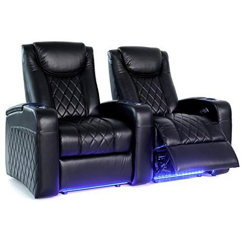 Sièges de home cinéma Octane Seating Azure LHR - Cuir refendu noir - Dossier inclinable électrique - Appui-tête et support lombaire motorisés - Porte-gobelets éclairés - Rangée Rectiligne de 2 Sièges