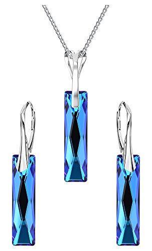 Crystals & Stones *QUEEN BAGUETTE* *Bermuda Blue* Schmuckset Ohrringe und Halskette mit Swarovski Elements Damen - Wunderbare Schmuck mit Elegant Schmuscketui -