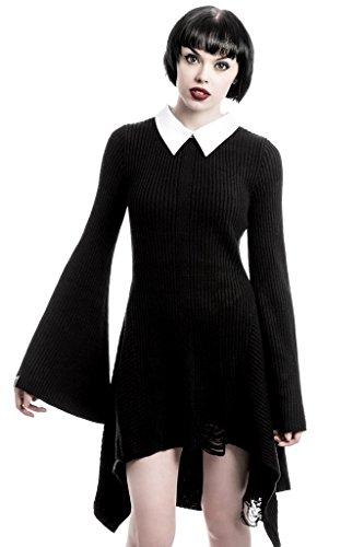 Killstar Damen Gothic Strickkleid mit Bubikragen - Hellda Mini Kleid XXL