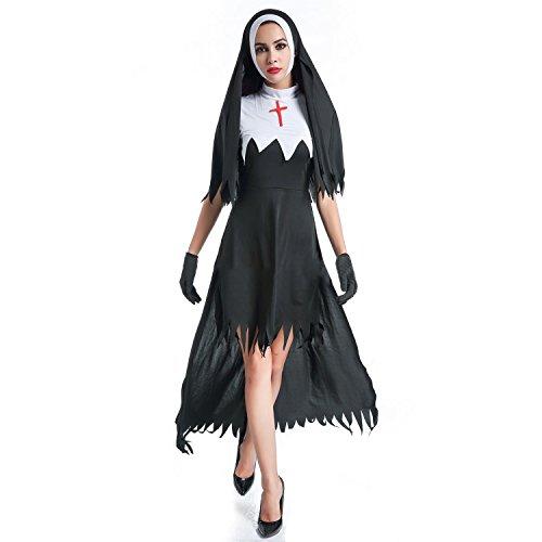 Boodtag Frauen Halloween Kostüm Zombie Nonne Kleider Spiel Rollenspiel Cosplay Uniform inkl. Kopfbedeckungen Handschuhe (Paar Kostüm Frauen)