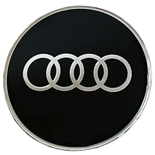Aufkleber für Leichtmetall-Radnaben, Audi-Logo, Nachbildung, 60mm, Epoxidharz, schwarz, 4-teiliges Set