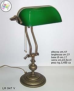 Churchill lampe de bureau de luxe r glable en verre vert - Lampe de bureau banquier laiton verre vert ...