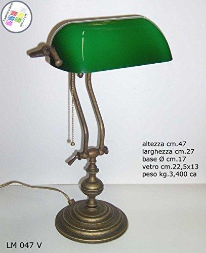 Lampada Churchill Lusso da Studio Scrivania Scrittoio Vetro Verde Ottone