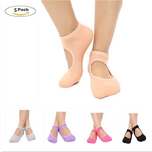 Znme66 5 paia di calzini antiscivolo per yoga e pilates, con pianta in cotone, da donna, misura unica