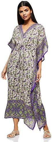 Women's Long Kaftan Ethnic Print Beach Cover Up Sleepwear Classic Night Gown Robe V-Neck Lightweight Loose