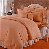 Urban Space - Marvel 300 TC 100% Premium Cotton Mercerized And Anti Microbial King Size Bedsheet With 2 Pillow Covers, Sateen Stripes, Peach