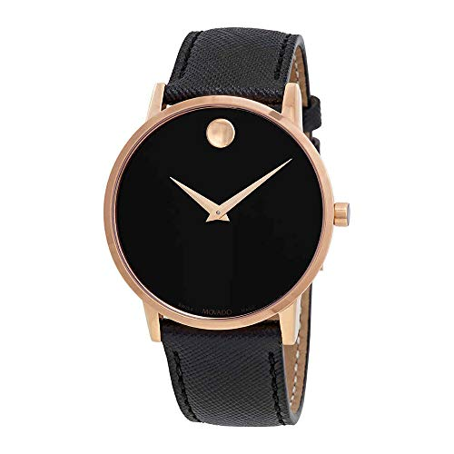 Movado Men's Museum Classic 40mm Black Leather Band Quartz Watch 0607196