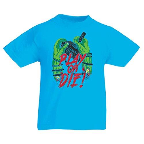 Camisas para niños ¡Juegue o muera - solamente para jugadores ! (7-8 years Azul claro Multicolor)