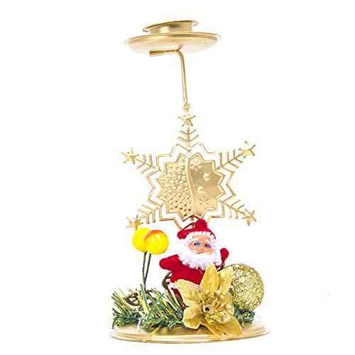 YUnnuopromi Kerzenhalter für Weihnachten, Weihnachtsmann, Elch, Baum, Schneeflocke, Stern, Metall (Clearance Dekorationen Schneeflocke)