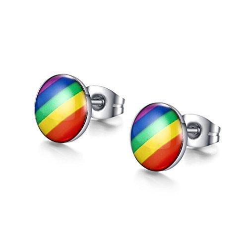 Preisvergleich Produktbild vnox Jewelry Fashion Rund, Regenbogenfarben Edelstahl Ohr Ohrstecker für Gay & Lesbian Pride von vnox