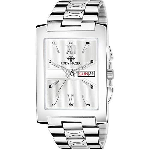 Eddy Hager Square Day and Date Men's Watch EH-255 (Silver)