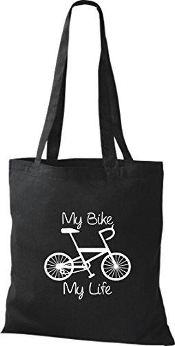 Pochette en tissu My Bike My Life Vélo BMX Kultpiercing Sac en coton, Sac Plusieurs couleurs Noir - Noir