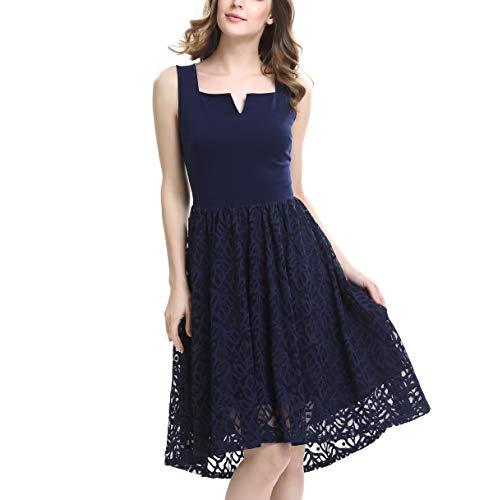 KILOLONE Damen Plus Size Elegant Kleider Spitzenkleid Cocktailkleid Rockabilly V-Ausschnitt Faltenrock