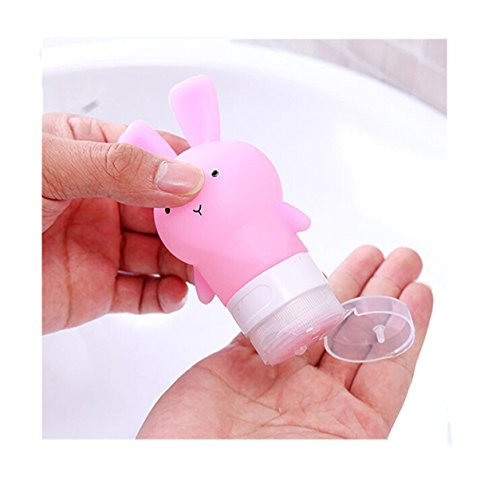 EJY Niedliches Häschen Tragbare Silikon Reise Flaschen Geeignet für Lotion,Shampoo, Conditioner, Duschgel, 75ml (Rosa) (Alternative Shampoo Und Conditioner)