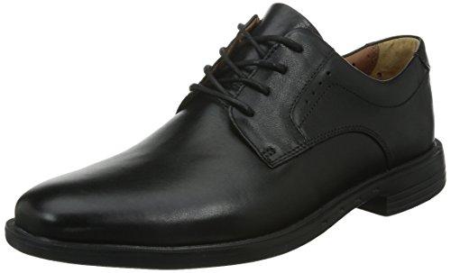 Clarks Unbizley Plain, Derby homme Noir (Black Leather)