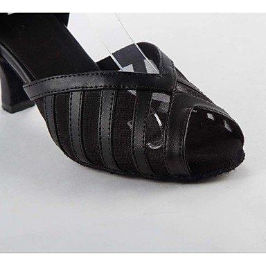 sandali pelle danza scamosciata latina Salsa con da tacco in Black alto donna qOpwYY