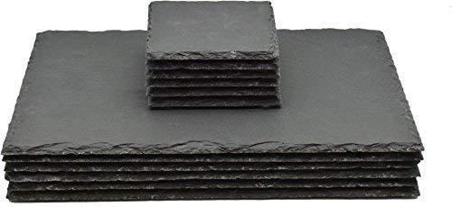 Quadratische / Rechteckige Schieferplatten - Platzteller-Set - 6 Untersetzer & 6 Platzteller