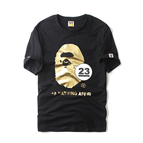 BOMOVO Herren BAPE T-Shirt Rundhals Schwarz