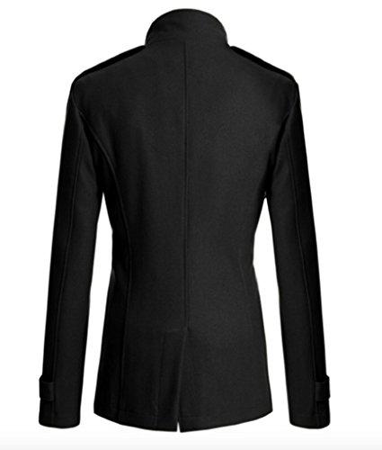 Elonglin Homme Classique Manteau Long Double Boutonnage Haut Qualité en Laine Noir