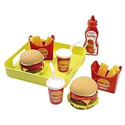 Vassoio con 2 hamburger, 2 porzioni di patatine, 2 bevande e 1 bottiglia di ketchup. Prodotto in Francia.
