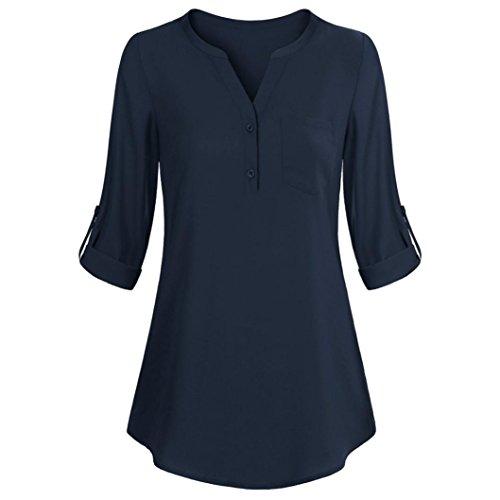 ESAILQ DamenSommer T-Shirt/Oberteile Kurzarm - Damen(L,Marine)