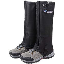 TRIWONDER Snow Leg Gaiters Impermeable Boot Polainas Senderismo Caminar Escalada Caza Ciclismo Leggings Cubierta (1 par) (Negro, L)