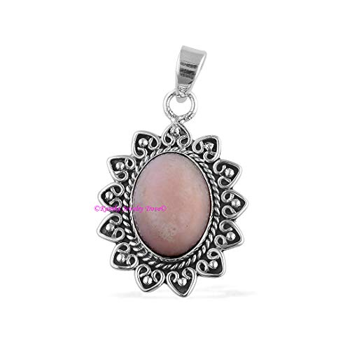 Pink Opal Pendant, 925 Sterling Silver Pendants for Womens, Oval Gemstone Pendants, Handmade October Birthstone Pendants, Star Designer Pendant -