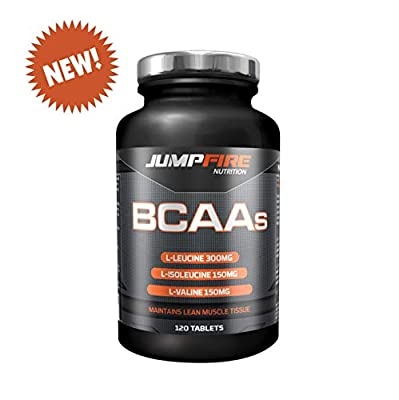 BCAA Tablets by Jumpfire Nutrition ? 1200mg Branched Chain Amino Acids suitable for Men and Women ? Pre-Workout Energy Boost Supplement ? Leucine, Isoleucine and Valine Optimum Ratio with added Vitamin B6 to optimise training levels ? Combat Muscle Breakd