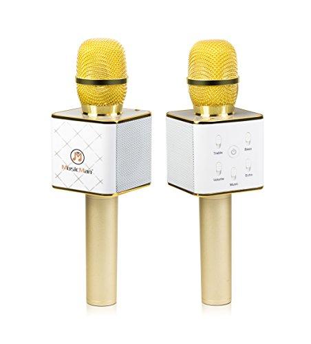 MusicMan 4685 Karaoke Mikrofon BT-X31 (Bluetooth, kompatibel mit Smartphone/Apple iPhone gold/weiß - 3