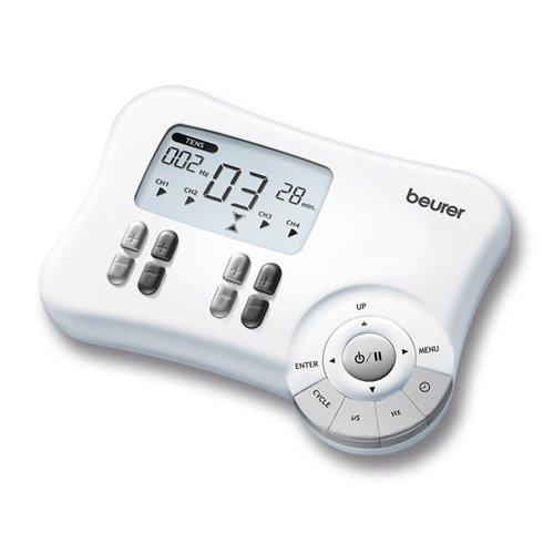 Beurer EM 80 - Electroestimulador Digital Masaje EMS TENS 4 Canales 8 Electrodos autoadhesivos