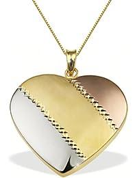 Goldmaid Damen-Halskette 9 Karat 375 Gelbgold Herz Tricolor 45 cm Herzanhänger