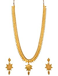 JFL - Traditional Ethnic Temple Laxmi Goddess Coin One Gram Gold Plated Designer Long Necklace Set For Women &...