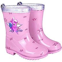 a4d65cbfc PERLETTI Botas de Agua para Niña Unicornio - Botines Impermeables de Moda  Rosa con Estrellitas -
