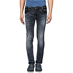 Mufti Mens Black Low Rise Super Slim Fit Jeans (36)