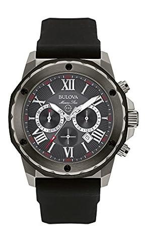 Bulova Marine Star 98B259 - Herren Designer-Armbanduhr - Chronograph mit Gummiarmband - wasserdicht - Grau
