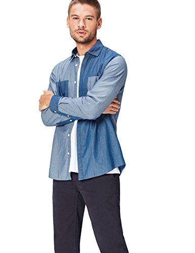 Blue Chambray Work Shirt (find. Hemd Herren aus Chambray mit Patchwork-Design, Blau (Blue), 50 (Herstellergröße: Medium))