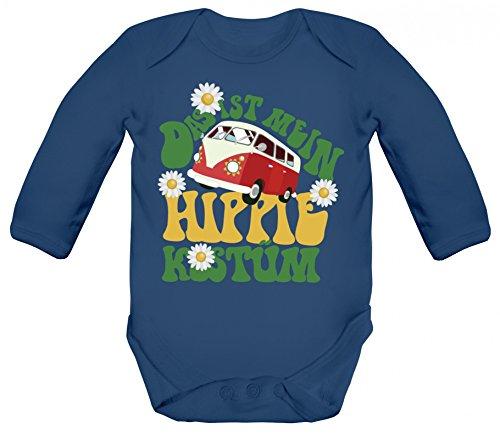 Mein Baby Kostüm - ShirtStreet Fasching Karneval Verkleidung Strampler Bio Baumwoll Baby Body langarm Das ist mein Hippie Kostüm, Größe: 6-12 Monate,Nautical Navy