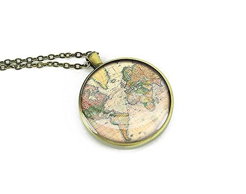 1893Mappa del mondo collana gioielli regalo per lei, rame, colore: Bronze, cod. M8006CP-BB