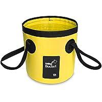 Cubo Plegable Cubeta Plegable agua portátil(12L) Robusto, Ligera, Ahorra Espacio para Vacaciones, Jardín, Exterior, Pesca y Camping (amarillo)