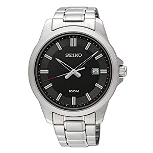 Seiko Mens Analogue Classic Quartz Watch with Stainless Steel Strap SUR245P1