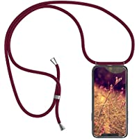 Robinsoni Funda Compatible con Huawei Mate 20 X Funda con Stringa TPU Silicona Transparente Airbag Funda Collana Telefono Cover Claro Flexible Carcasa Collar Funda con Cadena Cuerda Cordel