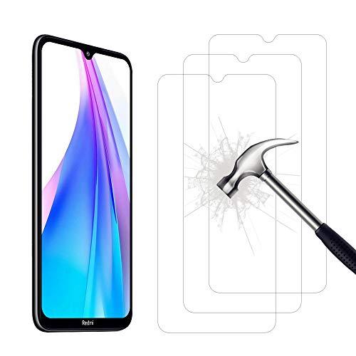 AHABIPERS Pellicola per Xiaomi Redmi Note 8T Vetro temperato, Facile Installazione Senza Bolle, durezza 9H, 99,99% HD trasparenza in Vetro temperato per Redmi Note 8T - 3 Pezzi