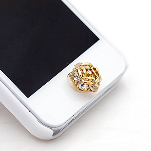 Ouneed® 3D glitzer Bling Diamond Metal Home Button Keypad Sticker Key Post for iPhone 4 4S 5 5S 6 6S For iPad (C) (Button Diamond Home)