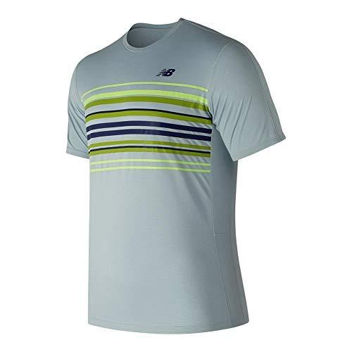 New Balance Herren Graphic beschleunigen Tennis Crew Short Sleeve Shirt, Herren, Light Porcelain Blue, Small -