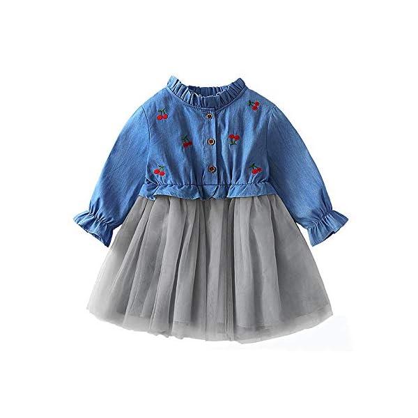 Saingace 15 5 Years Kids Little Baby Girl Cherry Denim Dress Birthday Gown Party Wedding