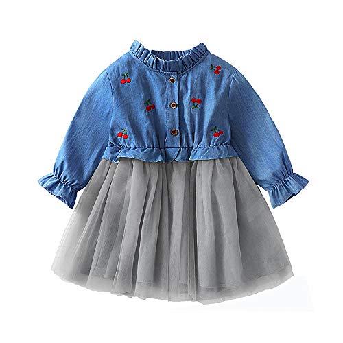 Rosennie Kinder Baby Mädchen Kleid langen Ärmeln Kirsche Denim Kleid Kinder Kleidung Prinzessin Kleid Herbst Winter Langarm Tutu Kleid Party Kleid Outfits Kleinkind Prinzessin Dress(Blau,110)