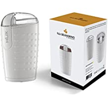 hLix BEANGRIND - Blanco - Molinillo para café, frutos secos y especias con cuchillas dobles de acero inoxidables, capacidad para 75 g, interior de acero inoxidable con tapa transparente y motor potente de 150W.