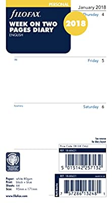 Filofax Personal Week On Two Pages English Monday Start 2018 Diary
